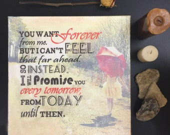 Vintage Wall Art Poetry Quote on Canvas (Forever)