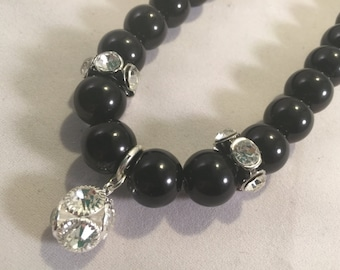Pearl Necklace with Crystal Rhinestones