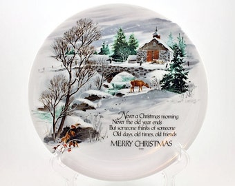 Vintage Winter Scene  Collectible Plate / Winterscene Series 11 Robert Laessig Merry Christmas Plate / WWA Inc / Collectible Robert Laessig