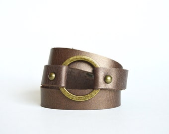Leather Wrap Bracelet With Ring: Soft Metallic Bronze Brown Leather Wrap Bracelet--Joanna Gaines Inspired Cuff