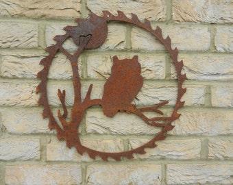 Owl Circular Saw blade Art / Rusty Metal Owl Art / Garden Decoration / Owl Gift / Rustic garden decor / Owl Metal Art / Garden Wall Hanger