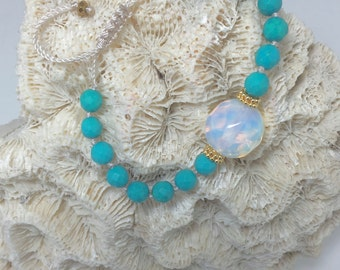 Turquoise and Opalo Bracelet with Vermeil Bead