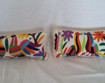 Hand-embroidered Otomi Lumbar Pillows
