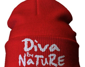 "Delta Sigma Theta Sorority Embroidered ""Diva by Nature"" beanie"