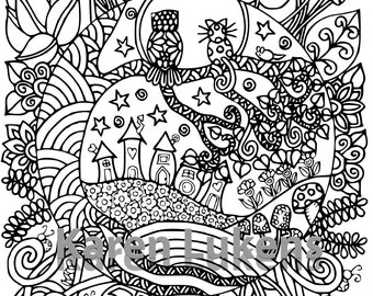 Best Friends #3, 1 Adult Coloring Book Page, Printable Instant Download