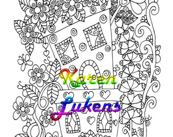 Happyville Flower Pots, 1 Adult Coloring Book Page, Printable Instant Download