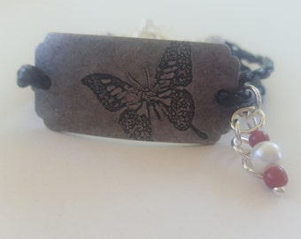 Butterfly Leather Bracelet, Leather Bracelet