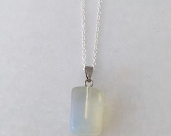 stone necklace on sterling silver 20 inch chain