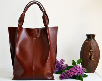 Leather Tote Bag, Leather Shopper Bag, Large Handbag, Large Tote Bag,  Shoulder Bag, Handmade Tote, Gift For Her, Cognac Brown Leather Tote