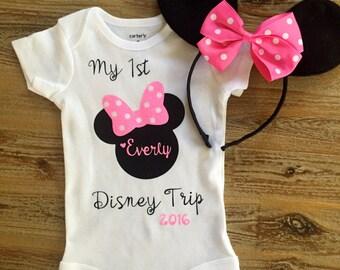 My First Disney Trip, Disney World Shirt, Minnie Ears Shirt, Personalized Minnie Shirt, Custom Disney Shirt
