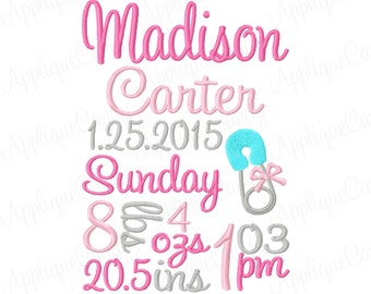 Custom Personalized Digitized Baby Diaper Bow Pin Subway Art Birth Announcement Embroidery Design 5x7 6x10 7x12 (NOT Instant Download)