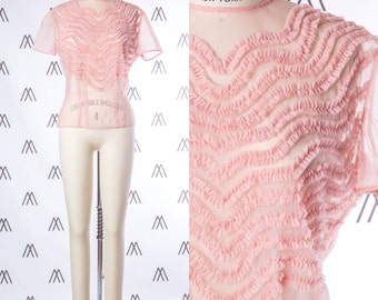 1940s Sheer Pink Nylon Blouse with Pleated Detail SIZE: S, 4