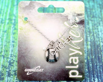 Customizable Softball Catcher Silver Necklace - Personalize with Softball Jersey Number, Heart Charm, or Letter Charm! Great Softball Gift!