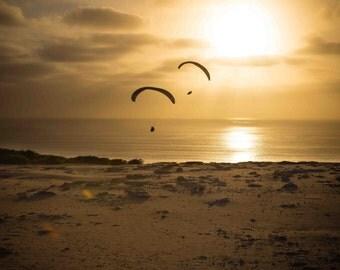 Black's Beach sunset with glider at Torrey Pines, La Jolla, near San Diego