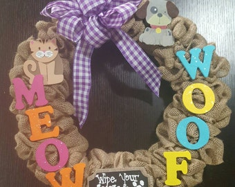 Dogs and Cats Burlap wreath