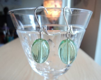 Pale green earrings. Earrings with transparent glass beads. Handmade earrings.