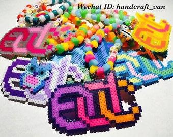 EDC logo & Owl Perler Beads Kandi Bracelet