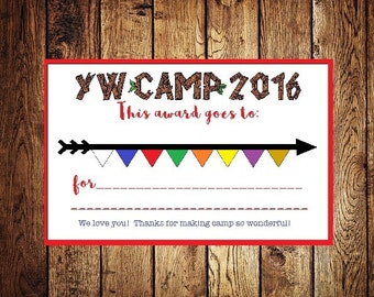 Girls Camp Award Young Women LDS instant download print 2016 YW