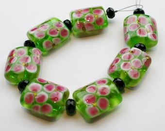 Green and Pink Floral Lampwork Beads