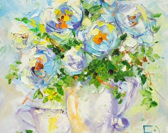 Dog rose, Flowers painting, Oil painting, White Roses, Original painting, Flowers, Gift for her, Morning, Palette knife, Decor home, Bright