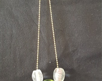 White and Green Glass beads on a Gold beaded chain