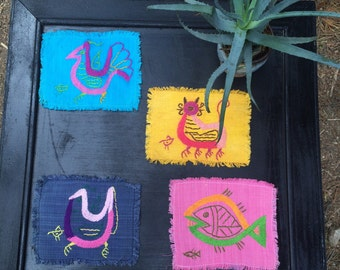 4 festive, vintage, hand embroidered linen coasters