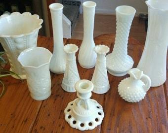 Vintage Milk Glass (sets of 3)