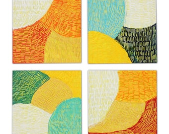 """Original Abstract Art Paintings, Vibrant Modern Wall Art, Home Decor, Set of 4 Artworks, Ready to Hang, """"Fusion Series"""" -FS01"""