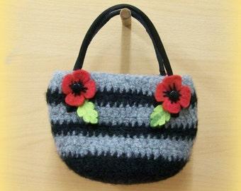 Handmade Striped Poppy Handbag