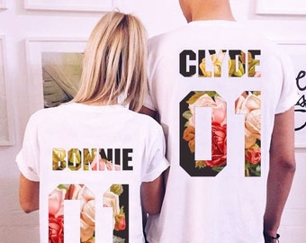 Bonnie Clyde 01  matching shirts, Bonnie Clyde Couples Shirt Set, Bonnie Clyde shirts, 100% cotton, Custom Shirts  Custom Numbers, UNISEX
