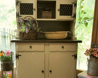 Vintage Shabby Chic Farm Hutch