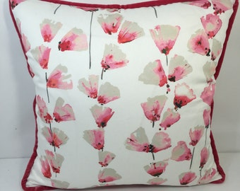 Romo, Honor Begonia; Coral Pink Floral Pillow Cover With Coral