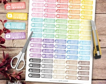 Watercolor Youtube Printable Planner Stickers, Youtube Stickers, Erin Condren Planner Stickers