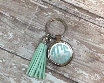 Keychain with suede leather tassel