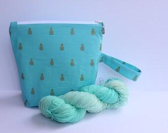 Golden pineapple project bag sock yarn kit