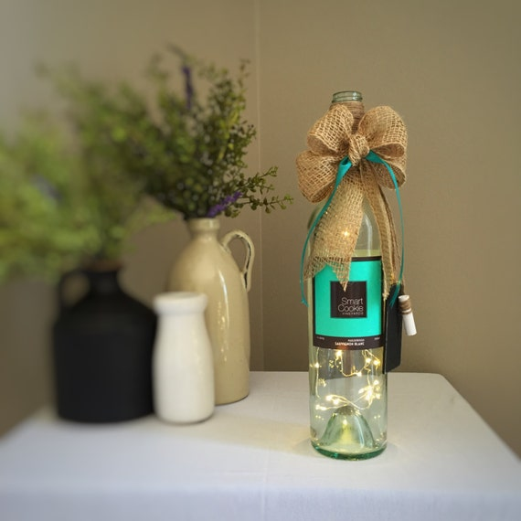 Smart Cookie Wine Bottle Light/Aqua Teal Brown/Cordless/Battery Operated/LED String Lights/Fun Home Decor/Graduate Gift/Co-Worker Gift