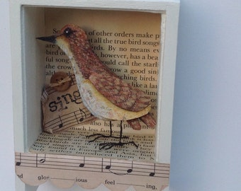 Bird collage assemblage original art shadow box home decor country style