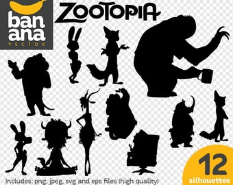 SALE Zootopia Silhouettes png jpg svg eps files high resolution BV-FA-0086