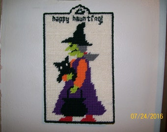 Plastic Canvas Wall Hanging, Happy Haunting witch with cat