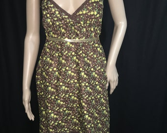 Brown & Yellow Knee Length Dress Size M