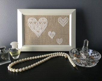 Vintage Style White Hearts on Linen