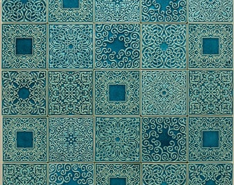 tiles with ornaments , turquoise number 1, set No.1
