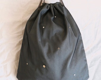 Bag blaugrau with shiny silver sequins