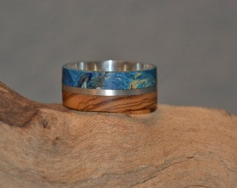 silver ring with maple burl and olive wood