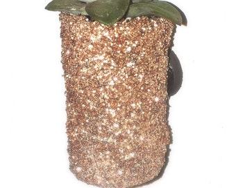 Succulent Magnet-glittery planter-wine cork succulent- glitter-home deco-office deco-gift -succulent cuttings