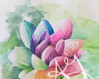 Watercolor Lotus Print