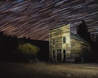 Stars over Garnet Ghost Town | Fine Art Photo Astrophotography Abandoned Wall Art Home Decor Print Photograph