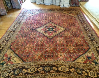 Persian rug sarouk hand knotted wool 9.2 x 12.11 antique washed claean