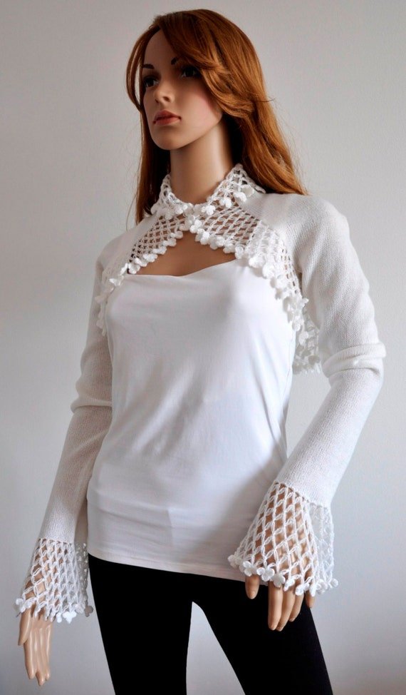 White Wedding Bolero Lace Special Occasion Shrug Bridal  Cover Up Scarf Bridesmaid Accessories Handmade Ready to Ship