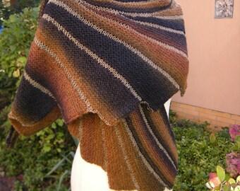 Hand knit shawl stole scarf Fächerschal